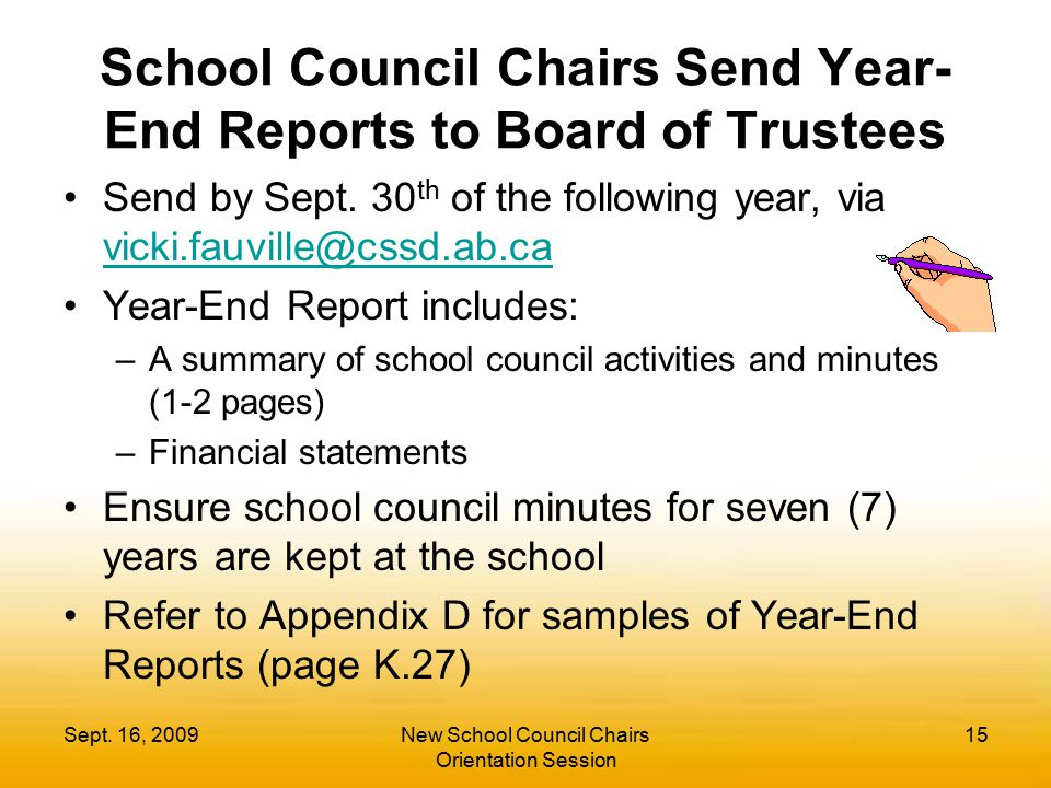 School Council Chairs Send Year-End Reports to Board of Trustees