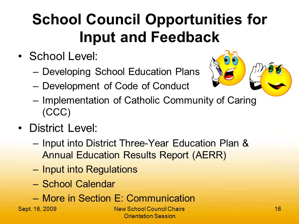 School Council Opportunities for Input and Feedback