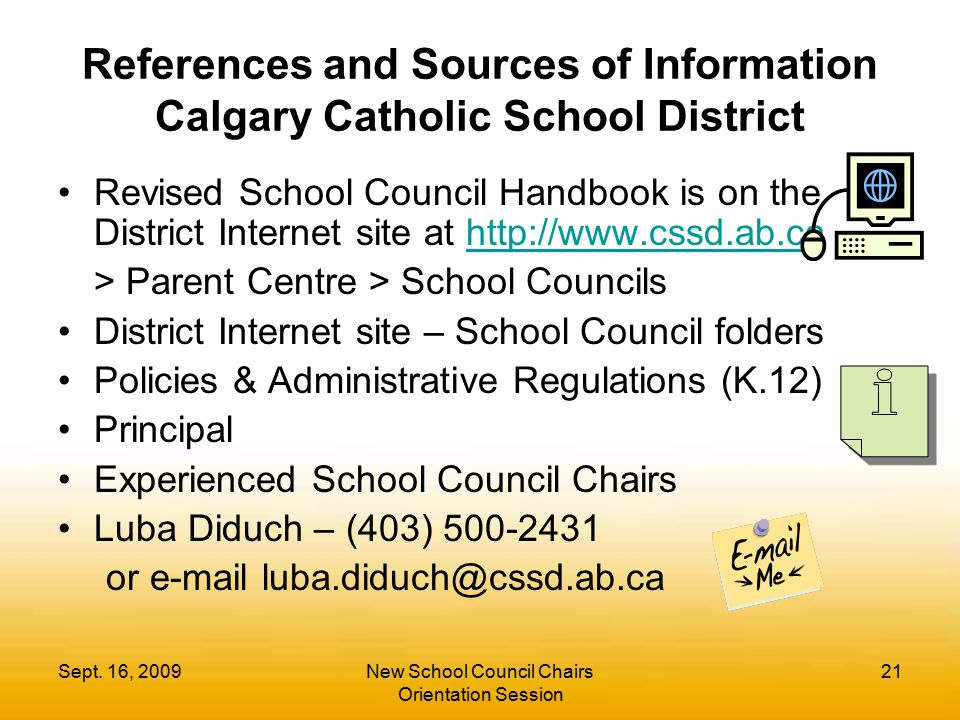 References and Sources of Information Calgary Catholic School District