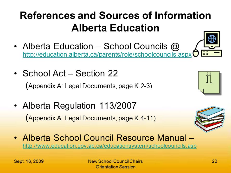 References and Sources of Information Alberta Education