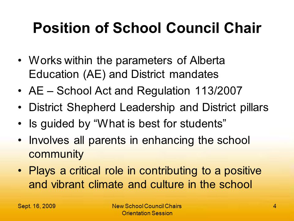 Position of School Council Chair