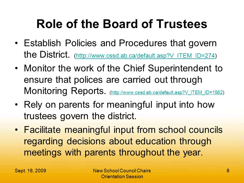Role of the Board of Trustees