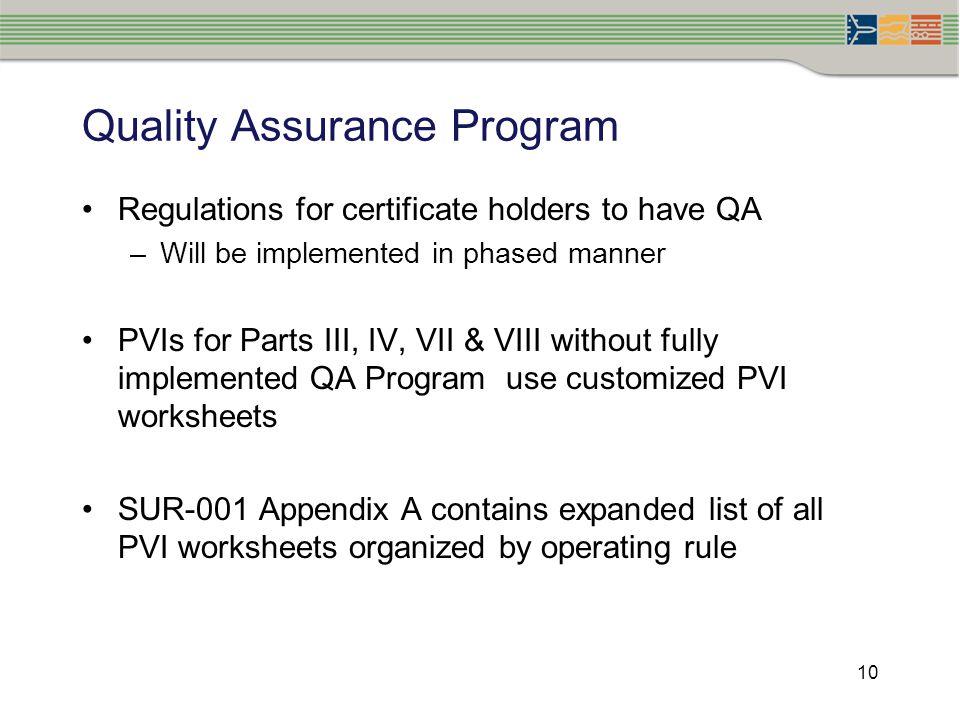 Quality Assurance Program