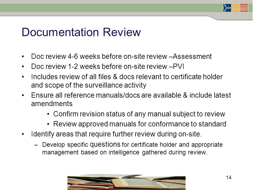 Documentation Review Doc review 4-6 weeks before on-site review –Assessment. Doc review 1-2 weeks before on-site review –PVI.