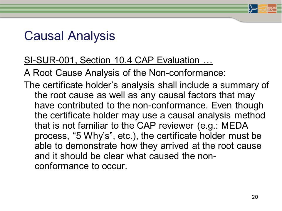 Causal Analysis SI-SUR-001, Section 10.4 CAP Evaluation …