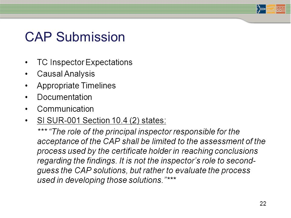 CAP Submission TC Inspector Expectations Causal Analysis