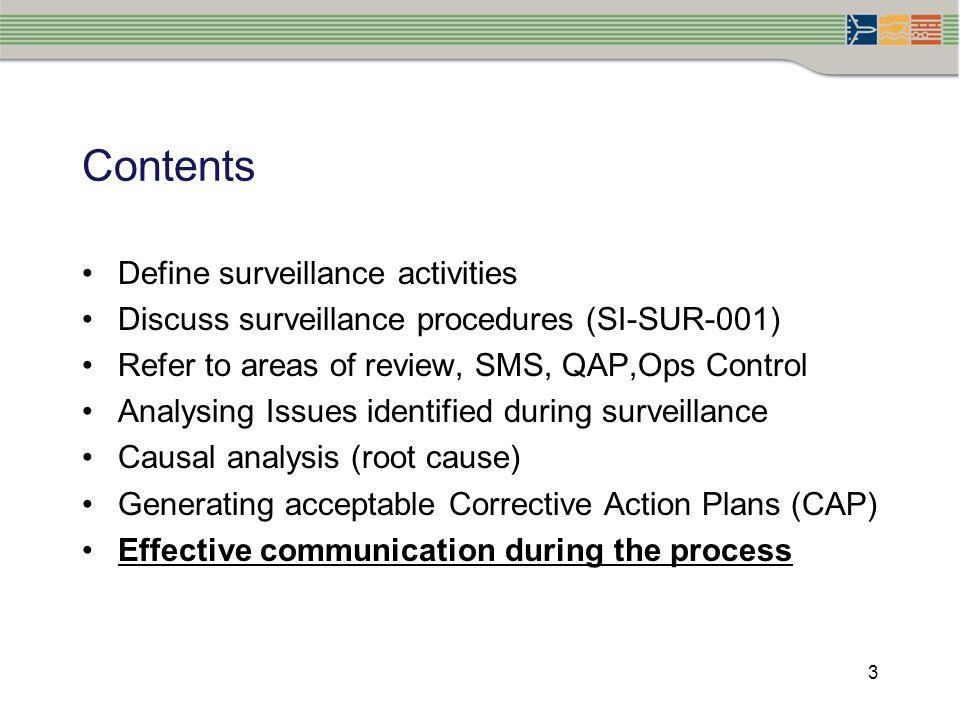Contents Define surveillance activities