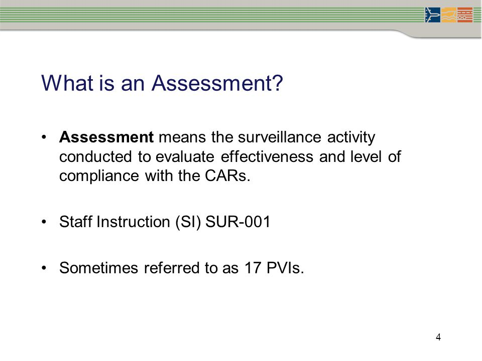 What is an Assessment Assessment means the surveillance activity conducted to evaluate effectiveness and level of compliance with the CARs.