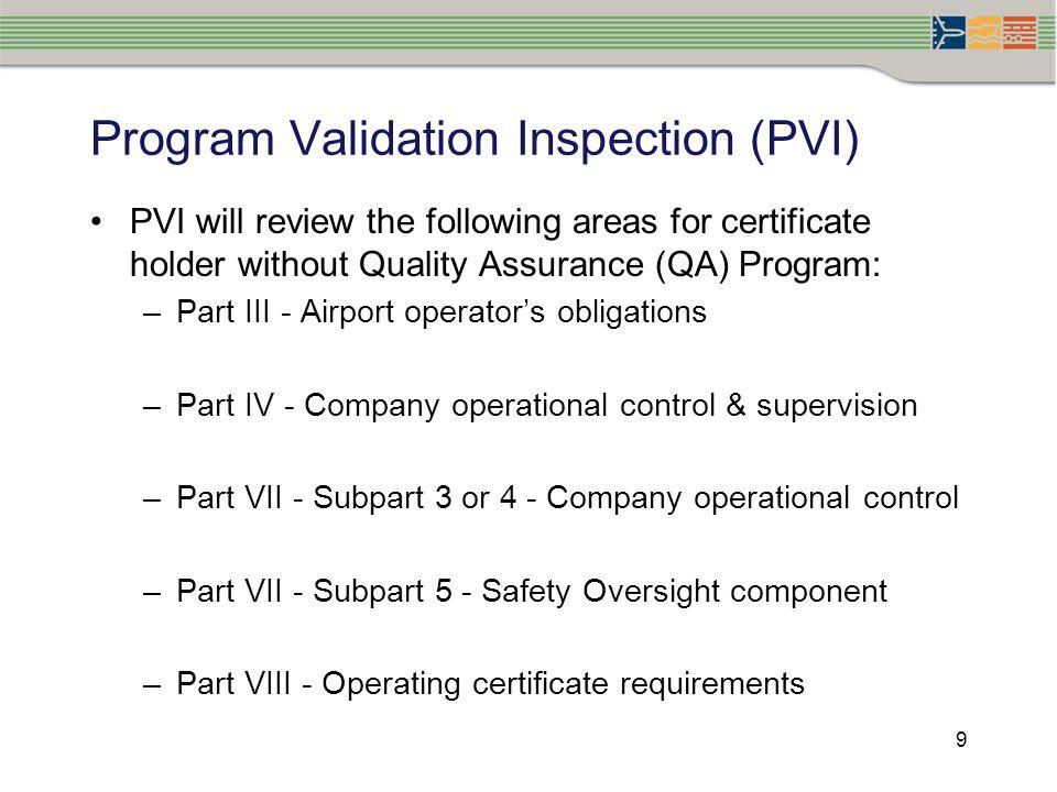 Program Validation Inspection (PVI)