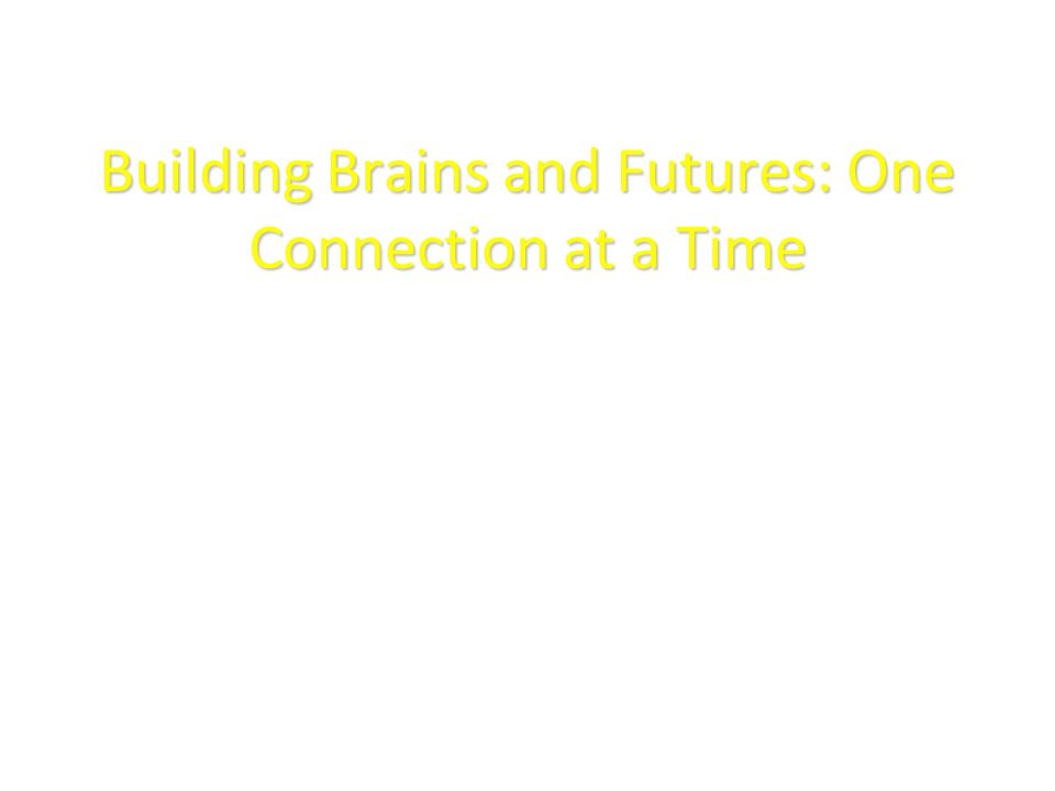 Building Brains and Futures: One Connection at a Time