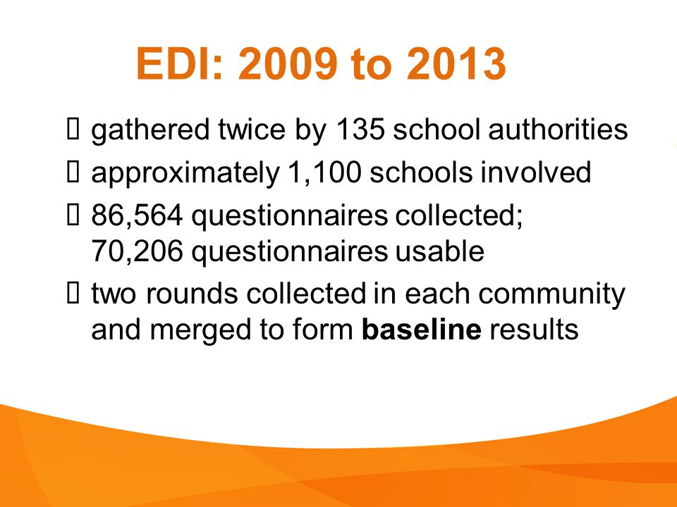 EDI: 2009 to 2013 gathered twice by 135 school authorities