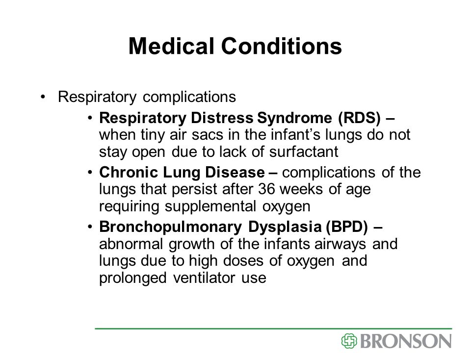 Medical Conditions Respiratory complications