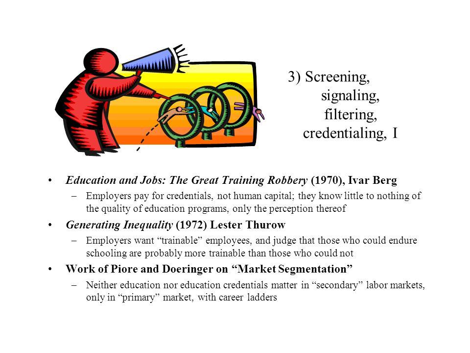 3) Screening, signaling, filtering, credentialing, I