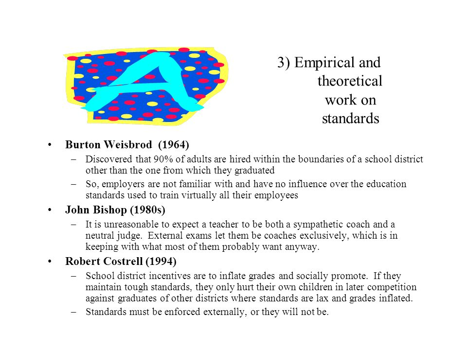 3) Empirical and theoretical work on standards