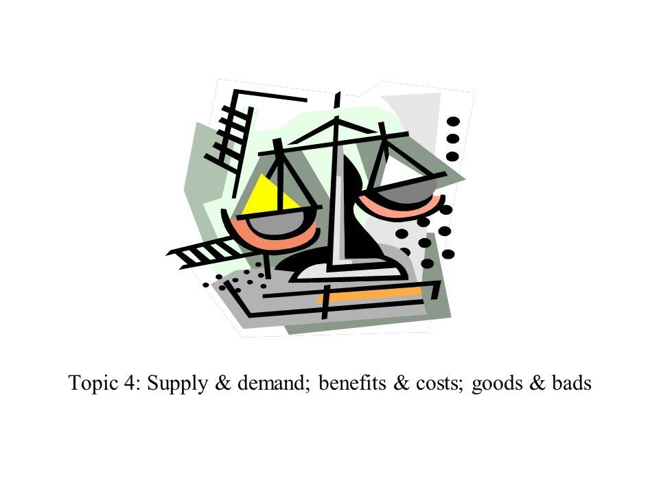 Topic 4: Supply & demand; benefits & costs; goods & bads