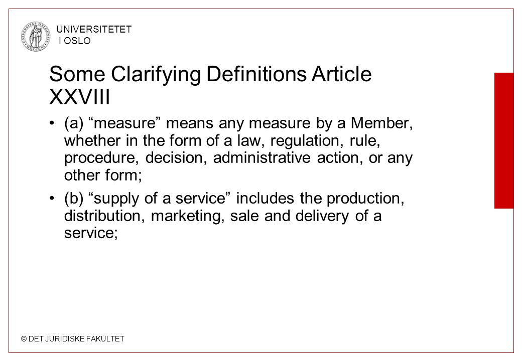 Some Clarifying Definitions Article XXVIII
