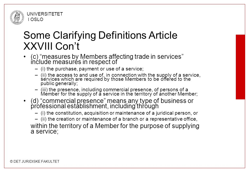 Some Clarifying Definitions Article XXVIII Con't