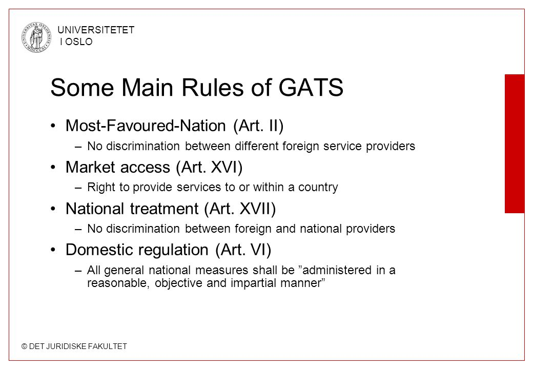 Some Main Rules of GATS Most-Favoured-Nation (Art. II)