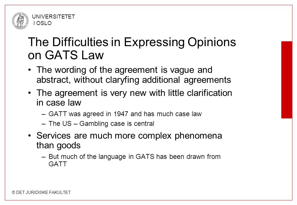 The Difficulties in Expressing Opinions on GATS Law