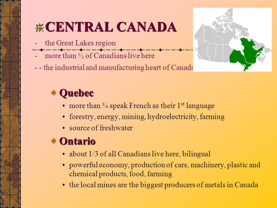 CENTRAL CANADA the Great Lakes region