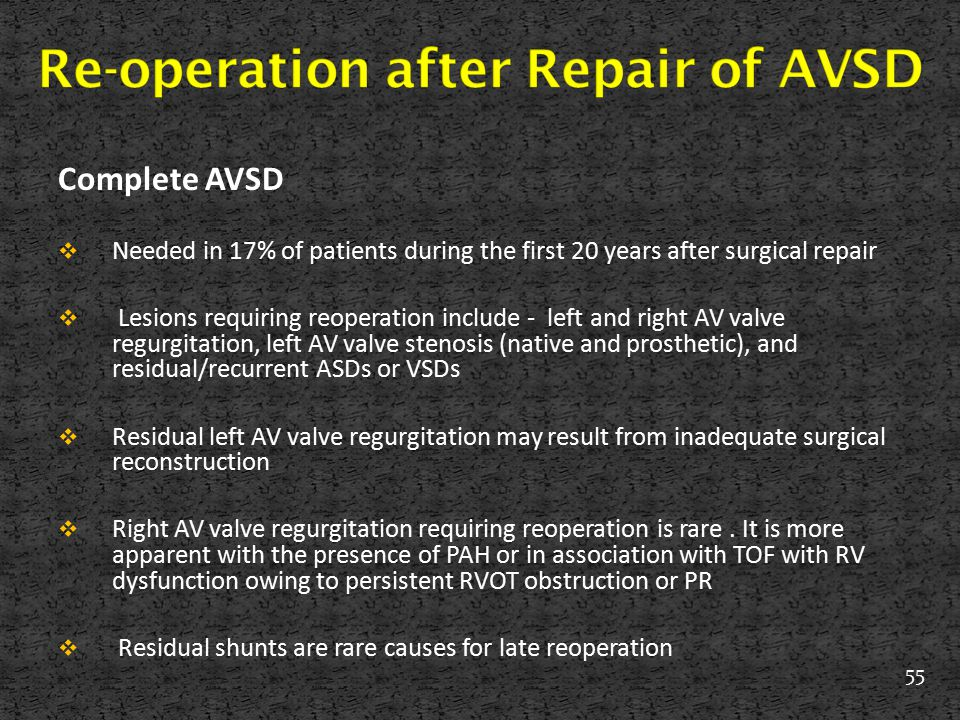 Re-operation after Repair of AVSD