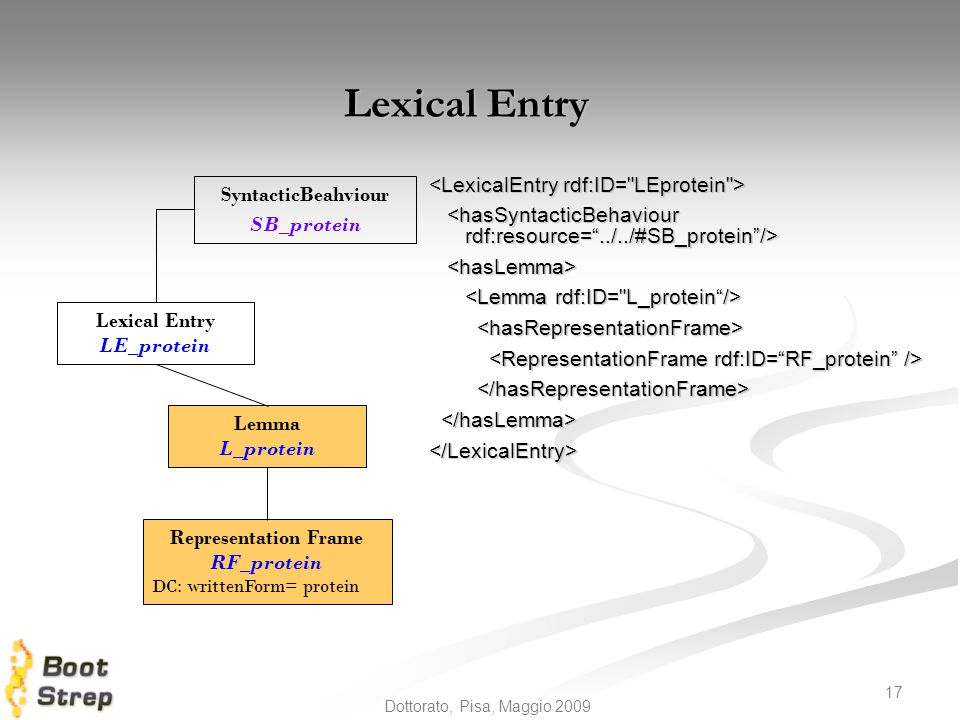 Lexical Entry <LexicalEntry rdf:ID= LEprotein >