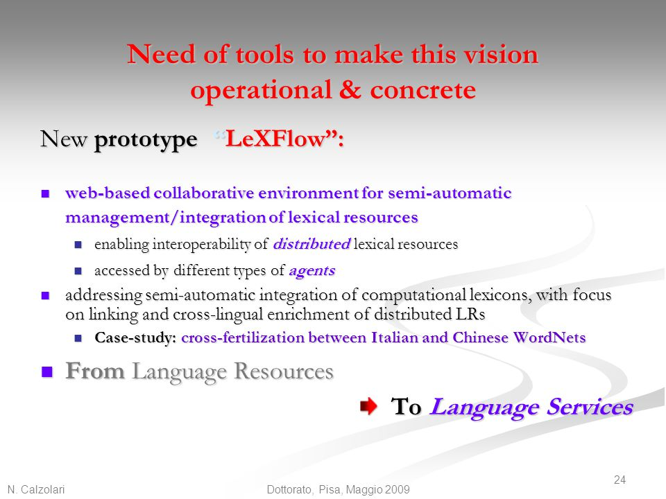 Need of tools to make this vision operational & concrete
