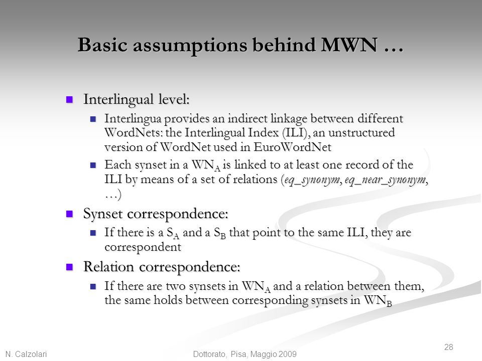 Basic assumptions behind MWN …