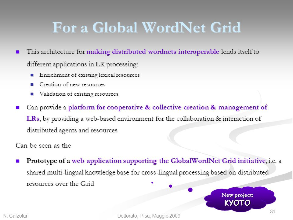 For a Global WordNet Grid