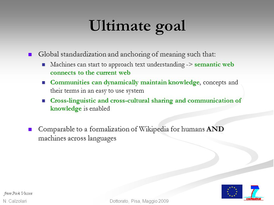 Ultimate goal Global standardization and anchoring of meaning such that: