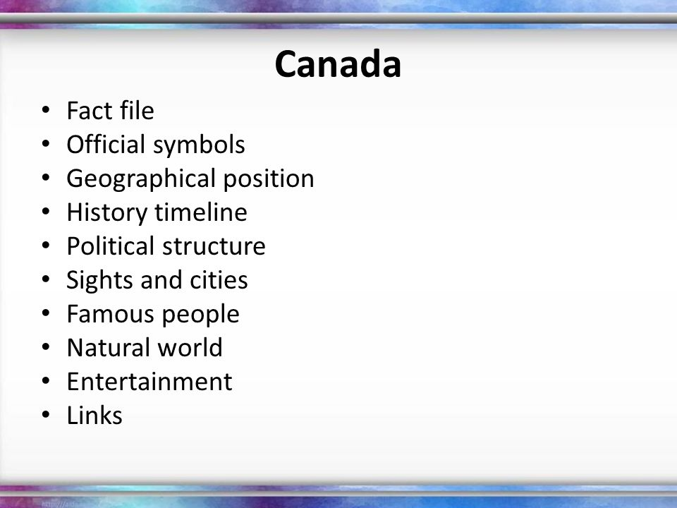 Canada Fact file Official symbols Geographical position