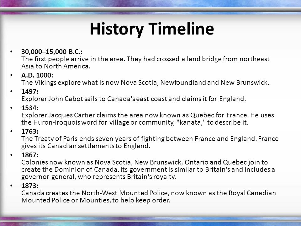 History Timeline 30,000–15,000 B.C.: The first people arrive in the area. They had crossed a land bridge from northeast Asia to North America.