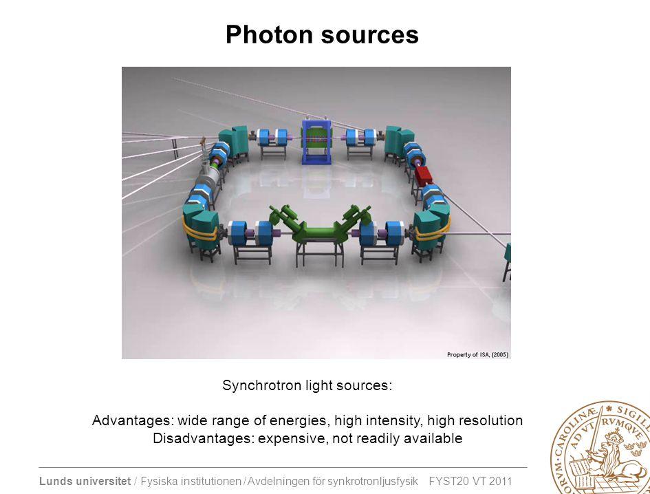 Photon sources Synchrotron light sources: