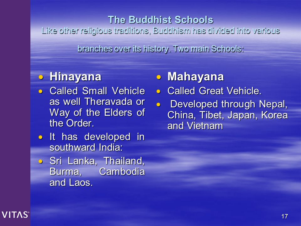 The Buddhist Schools Like other religious traditions, Buddhism has divided into various branches over its history. Two main Schools: