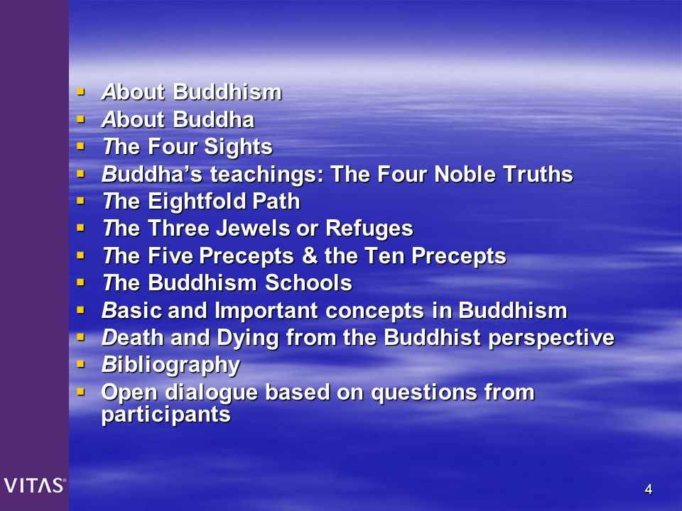 About Buddhism About Buddha. The Four Sights. Buddha's teachings: The Four Noble Truths. The Eightfold Path.