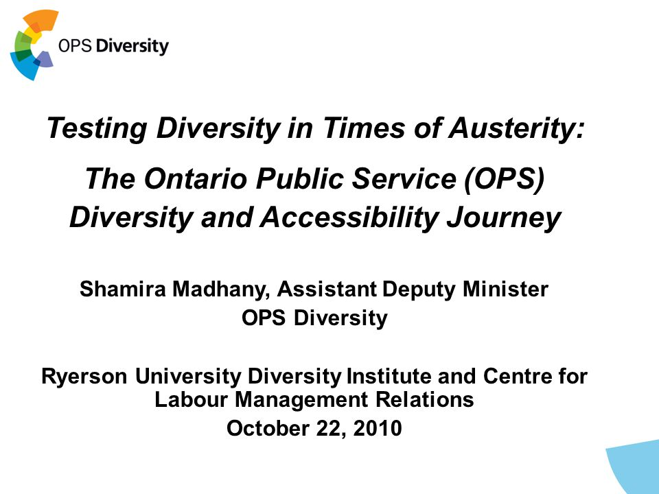 Testing Diversity in Times of Austerity: