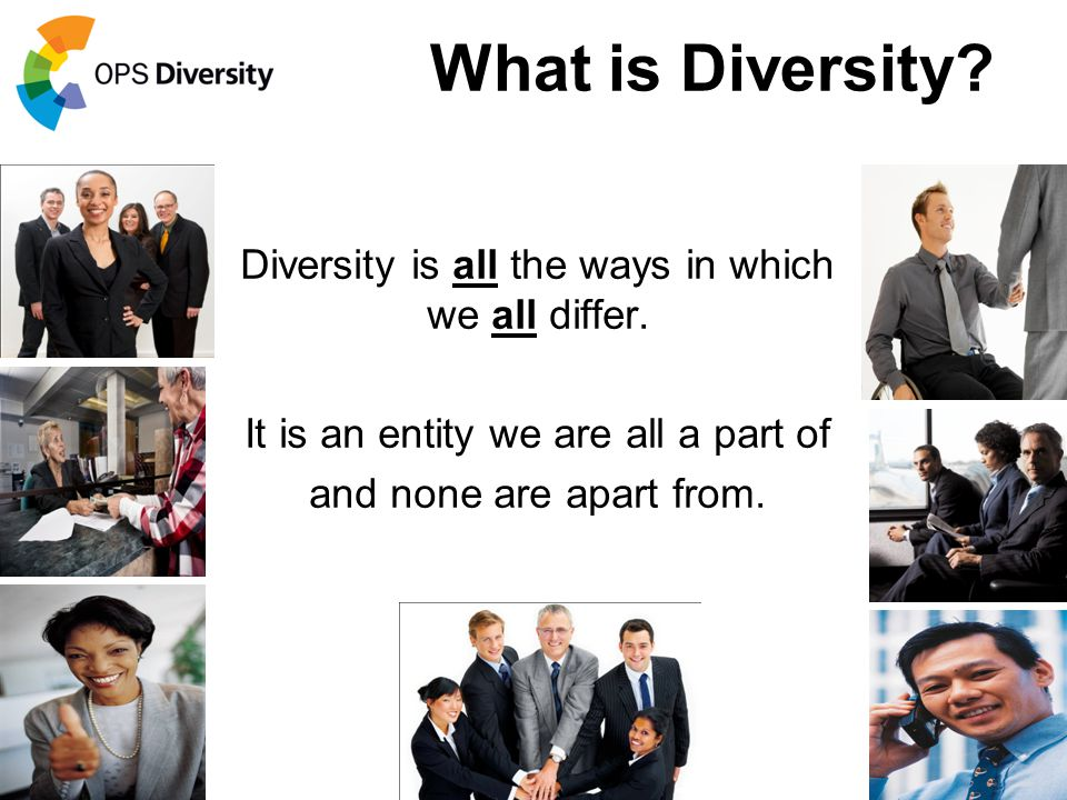 What is Diversity Diversity is all the ways in which we all differ.