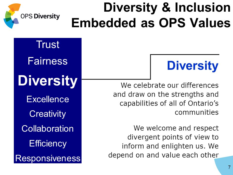 Diversity & Inclusion Embedded as OPS Values