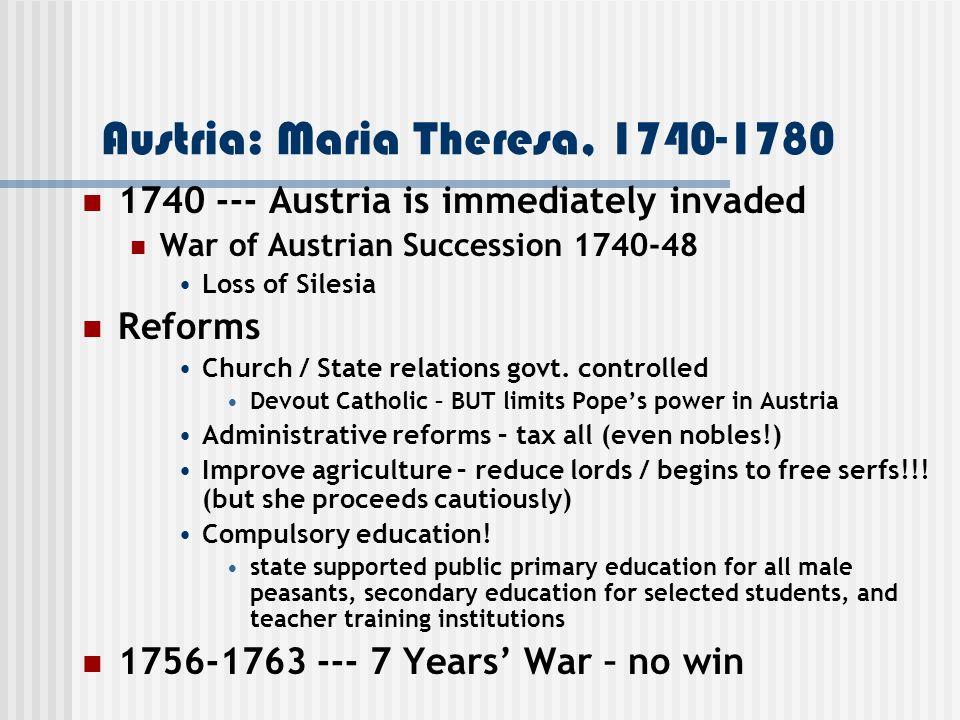 Austria: Maria Theresa, 1740-1780
