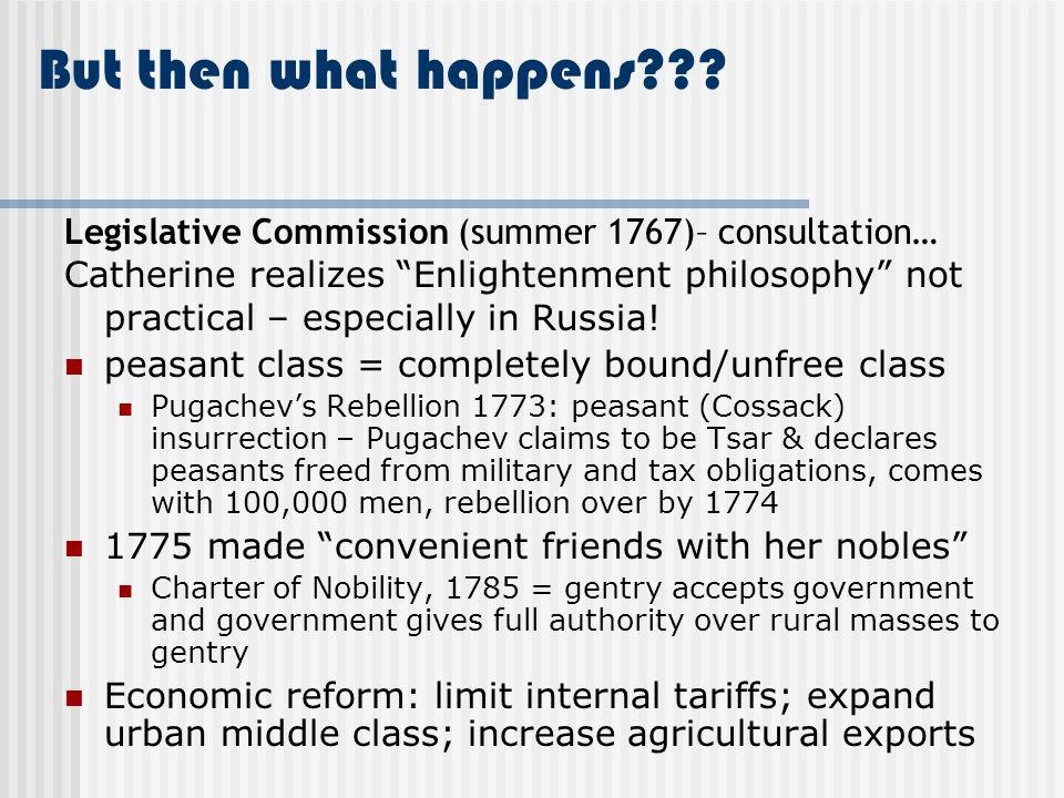 But then what happens Legislative Commission (summer 1767)– consultation…
