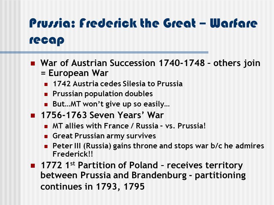 Prussia: Frederick the Great – Warfare recap
