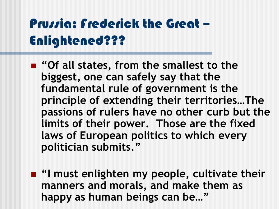 Prussia: Frederick the Great – Enlightened