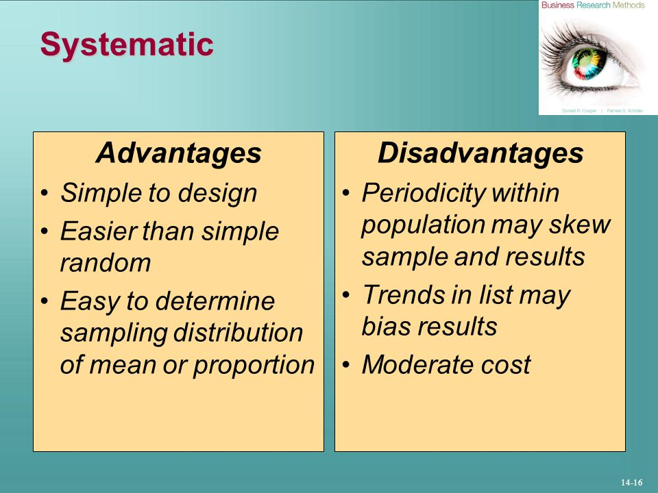 Systematic Advantages Disadvantages Simple to design