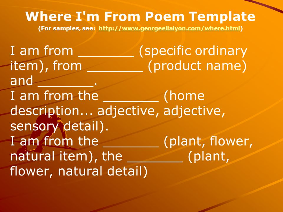 Where I m From Poem Template