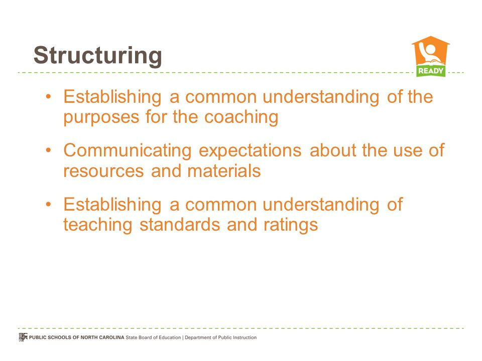 Structuring Establishing a common understanding of the purposes for the coaching.