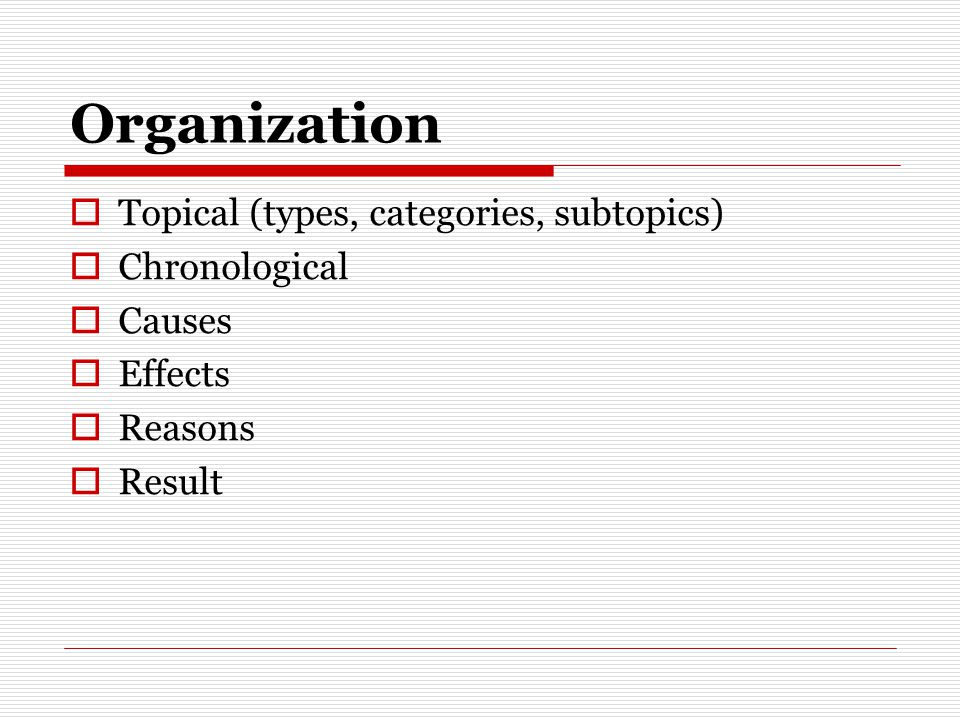 Organization Topical (types, categories, subtopics) Chronological