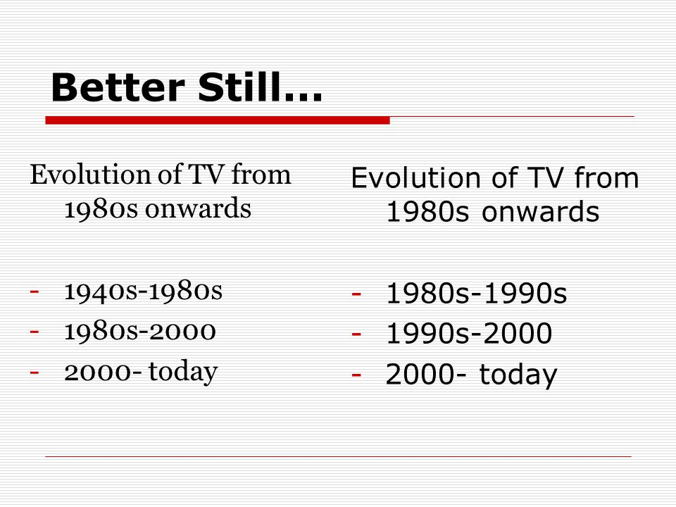 Better Still... Evolution of TV from 1980s onwards