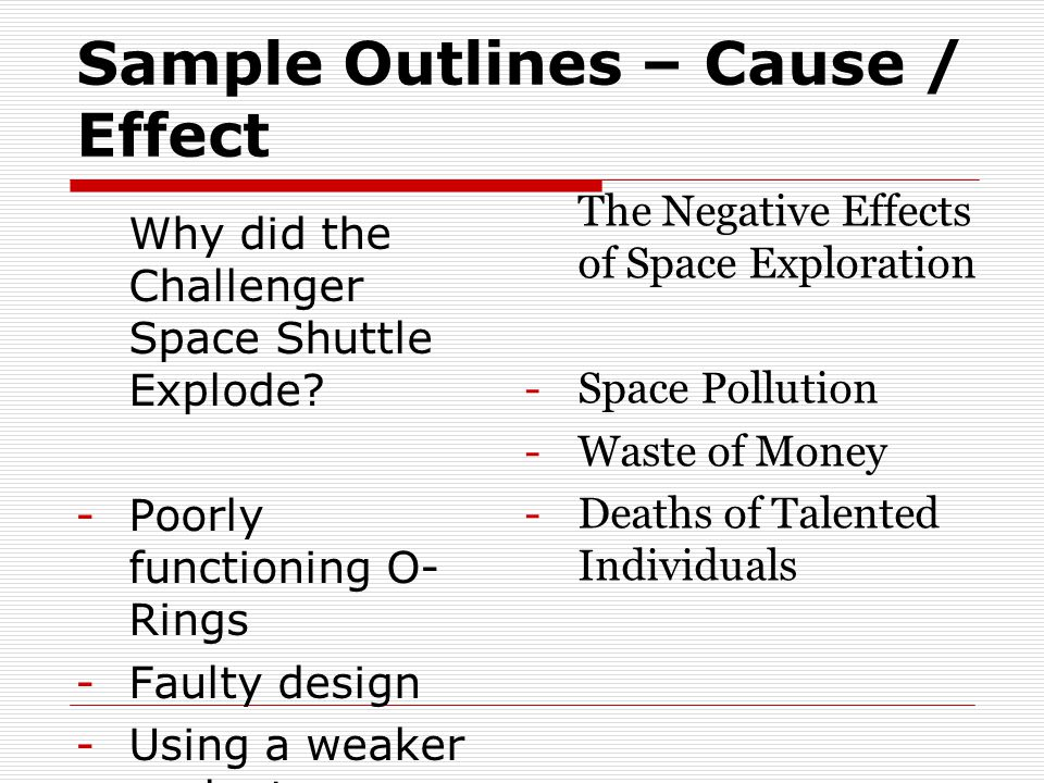Sample Outlines – Cause / Effect