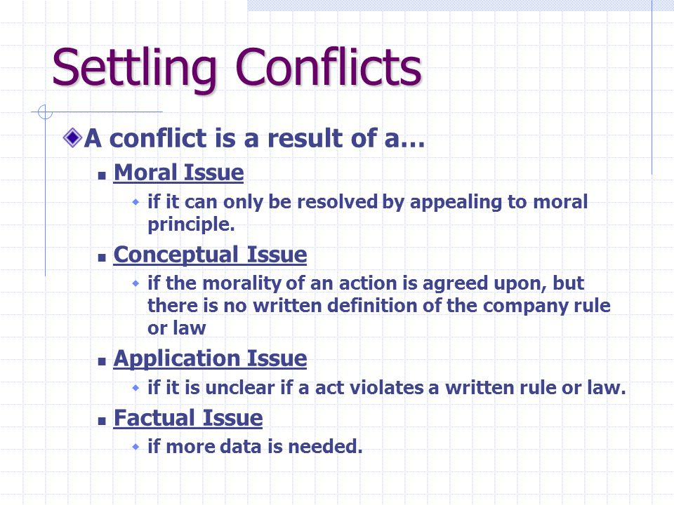 Settling Conflicts A conflict is a result of a… Moral Issue