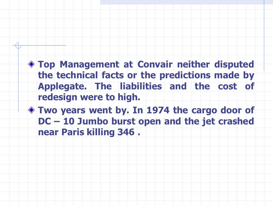 Top Management at Convair neither disputed the technical facts or the predictions made by Applegate. The liabilities and the cost of redesign were to high.